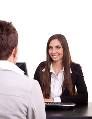 businesswoman with a client