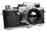 old  range finder camera isolated with clipping path