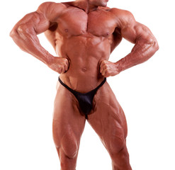 bodybuilder flexing his muscles