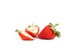 Two isolated strawberries