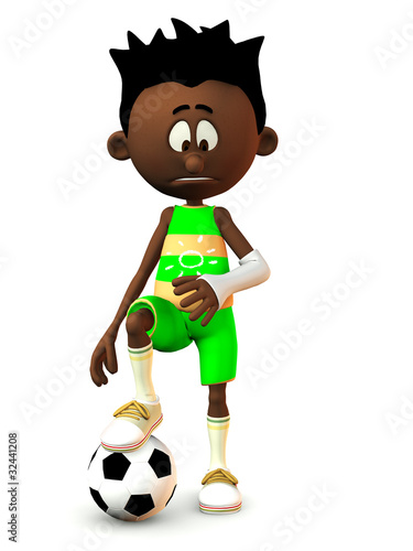 Sad black cartoon boy with broken arm.