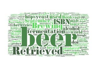 Beer word collage isolated on white