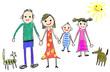 kinderzeichnung familie mit haustieren