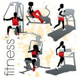 Fototapety Fitness silhouettes set