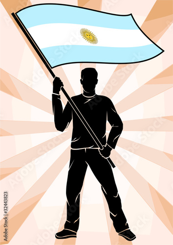 sports fan with flag of Argentina