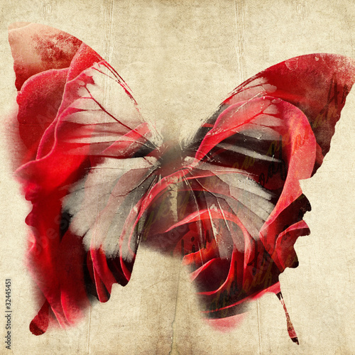colorful abstract illustration with butterfly