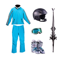 Set of things for downhill skiing, isolation on white