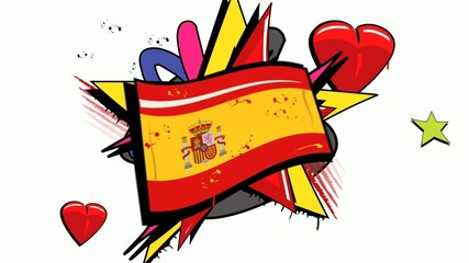 Spanish revolution protest graffiti pop art flag spain animation