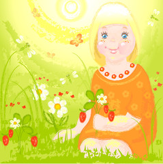 little girl on a sunny day in the meadow picking berries