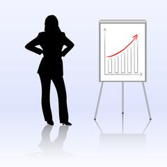 businesswoman presenting statistics