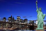 Brooklyn Bridge and The Statue of Liberty at Night - 32449428