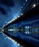 Fototapety Manhattan Bridge At Night Lights, New York City