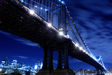 Manhattan Bridge At Night Lights, New York City