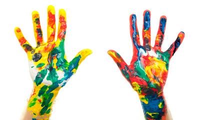 colurful hands idea fingertip future