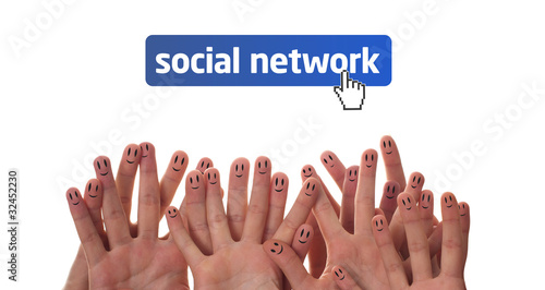 Happy finger faces as social network