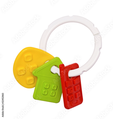 Toys for teething, colorful details on the ring