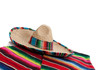 Serape and sombrero on a white background with copy space