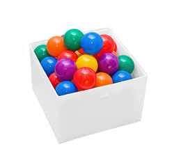 Many colour plastic balls in box on white