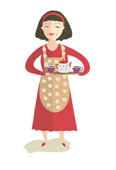 The girl with a teapot and cups of tea