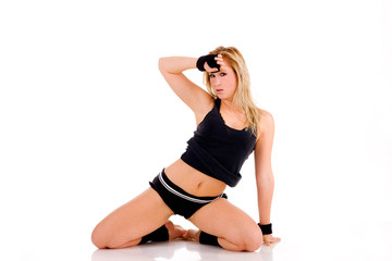 Attractive Caucasian woman after workout