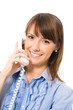 Happy successful business woman with phone, isolated
