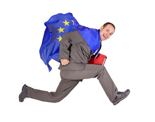 running man with the flag of the European Union....