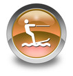 "Orange Glossy Pictogram ""Water Skiing"""