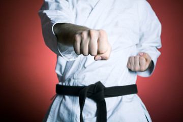 Karate punch training, exercise concept