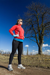 Woman athlete ready to run, exercise outdoors