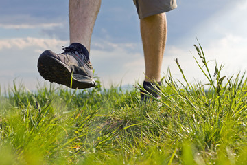 Man walking on grass on summer day