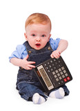 Baby - mathematician. Calculation has left in a minus, concept. poster
