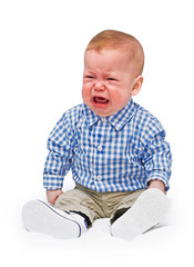 The crying boy in tears, on  white background