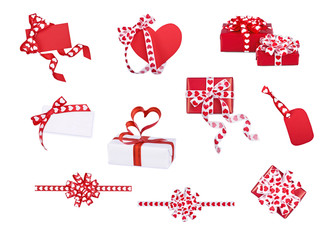 Set of gifts, bows and cards with hearts on the white