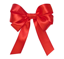 Bright red bow on the white