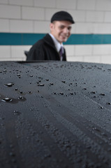 Young Man with Washed Car