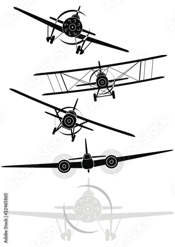 Set of silhouettes of military aircrafts of World War II