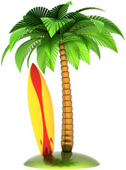 Surfboard palm tree and island stylized summer composition