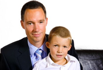 Father and son studio portrait