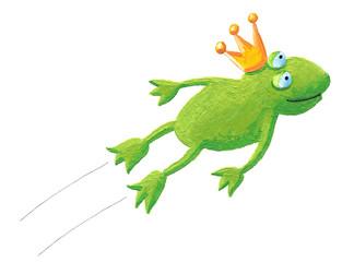 Frog prince jumping