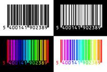Czarny, biały i kolorowy kod kreskowy