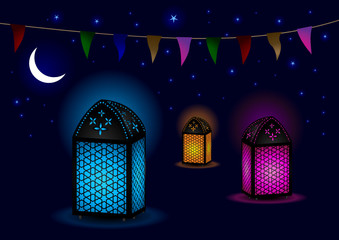 Beautiful Islamic Lamps with Crescent and Stars
