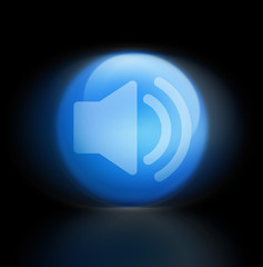 sound musik button leuchtend blau