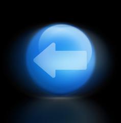 zurück Pfeil button leuchend blau