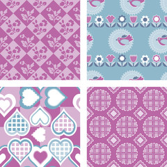 Set of 4 Patchwork Quilt Fabric Patterns