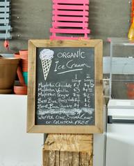 Sign for organic ice cream