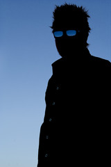 silhouette with glasses
