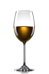 wine in the glass isolated on white