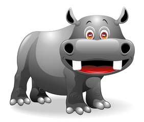 Ippopotamo Cartoon-Funny Hippo-Vector