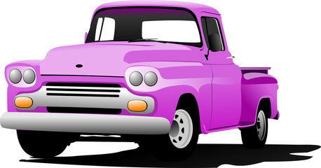 Old pink pickup with badges removed. Vector illustration