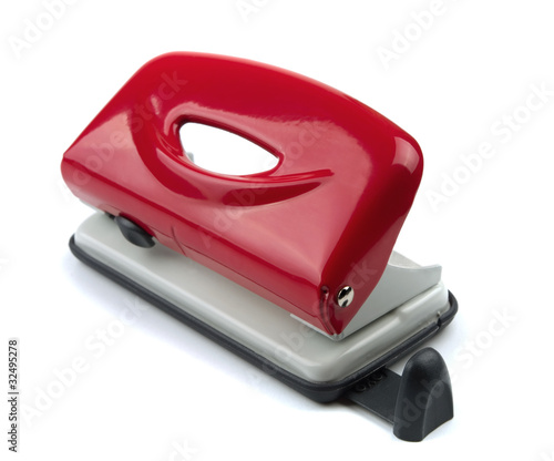 Red office hole puncher